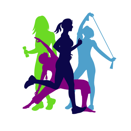 person woman: fitness emblem, woman silhouette, illustration