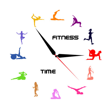 Tijd voor fitness concept, klok, iconen, illustratie
