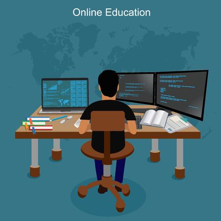 learning icon: online education, e-learning, illustration Illustration