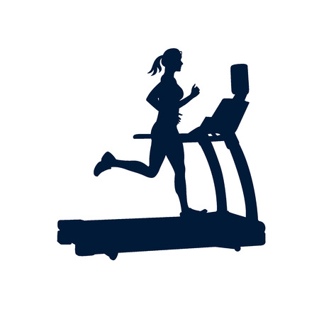 cardiovascular workout: woman doing exercises on treadmill, on white background, Illustration