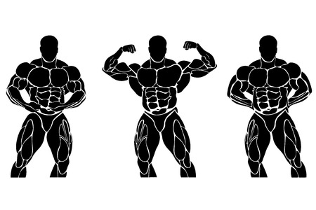 Bodybuilding and powerlifting concept, icon 向量圖像