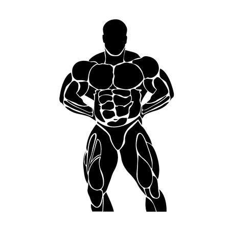 Bodybuilding and powerlifting concept, icon Illustration