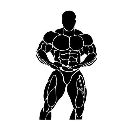 powerlifting: Bodybuilding and powerlifting concept, icon Illustration