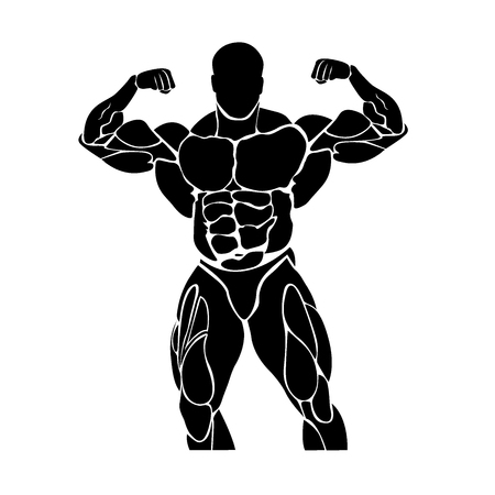 Bodybuilding and powerlifting concept, icon Ilustrace