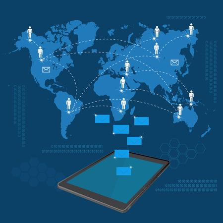 online internet presence: Global business communication, vector illustration
