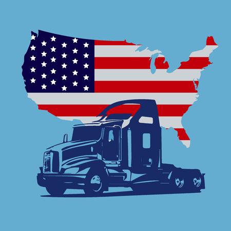 semi truck, map of USA, icon, vector illustration
