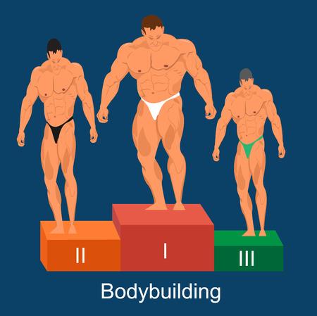 bodybuilding concetto di concorrenza, illustrazione vettoriale