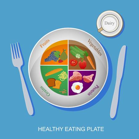 healthy plate concept, vector illustration Vettoriali