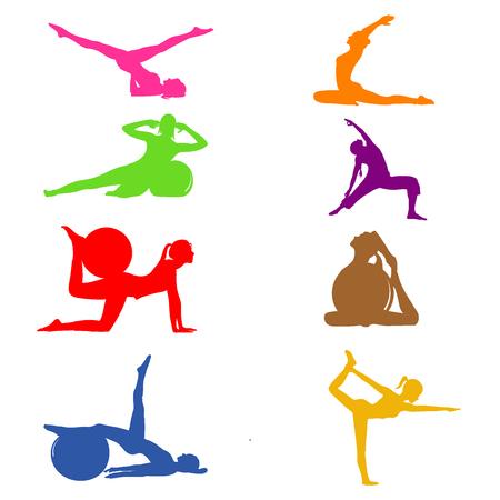 Ensemble d'icônes fitness Pilates, illustration vectorielle Banque d'images - 54206485