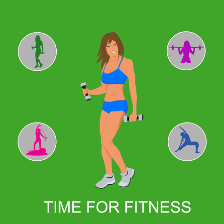 fitness, girl with set of Fitness Icons. Vector illustration