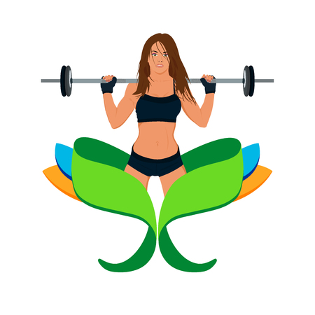 squat: emblem of fitness girl making squat with barbell, vector illustration