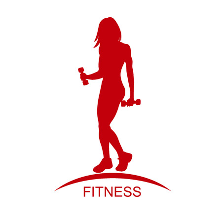 Fitness club emblem with woman silhouette. Woman holds dumbbells. Isolated on white background. Vector illustration