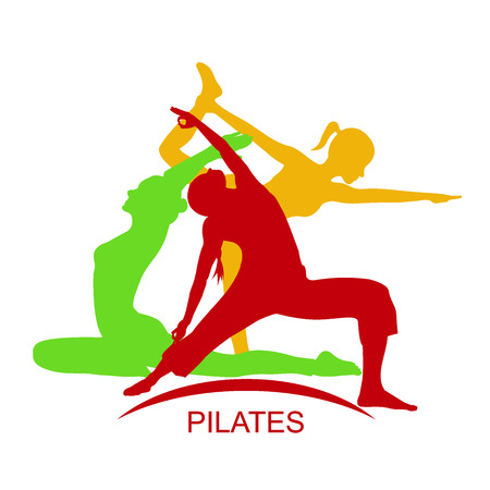 fitness woman, Pilates icons, yoga, vector illustration