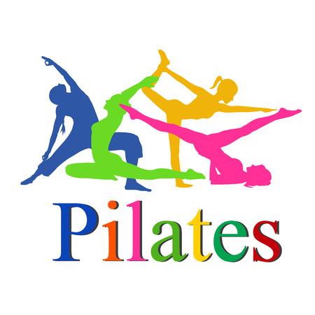 fitness vrouw, Pilates pictogrammen, yoga, vector illustratie