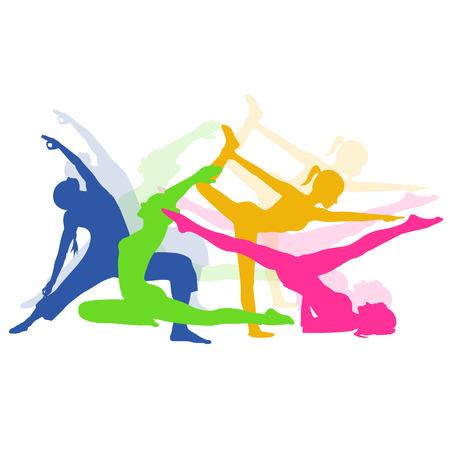 tracksuit: fitness woman, Pilates icons, yoga, vector illustration