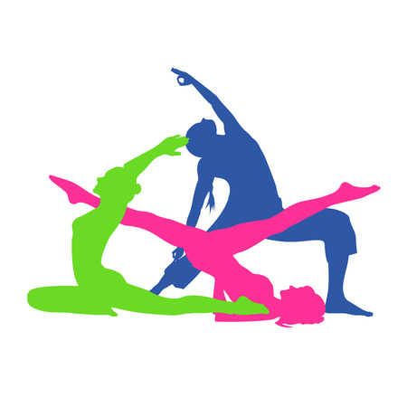 sweatsuit: fitness woman, Pilates icons, yoga, vector illustration