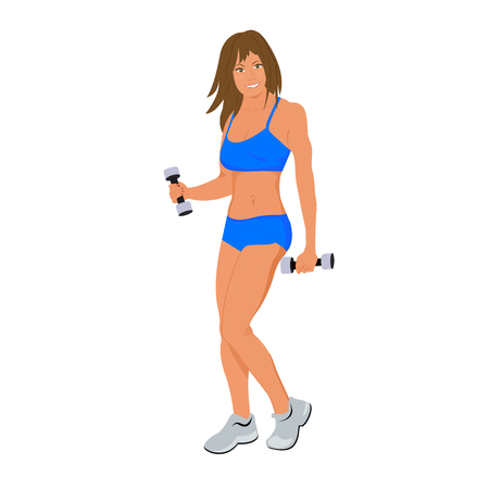 Cute fitness woman isolated on white background, flat vector illustration Illustration