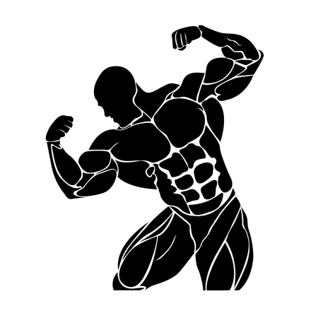 Bodybuilding and powerlifting concept, icon, vector illustration