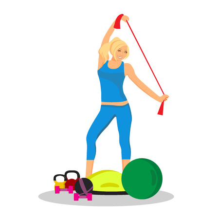 fitness woman, sport, icon, flat vector illustration Illustration