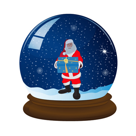 magic snow ball with stand, snowflakes and Santa, vector illustration