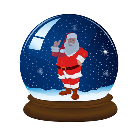snow ball: magic snow ball with stand, snowflakes and Santa, vector illustration
