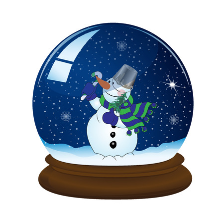 snow ball: magic snow ball with stand and snowman, vector illustration