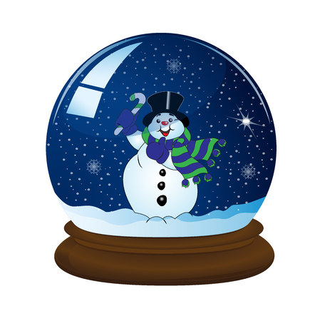 sphere base: magic snow ball with stand and snowman, vector illustration