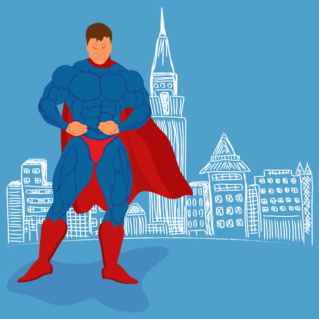 muscly: superhero and sketch city, vector illustration