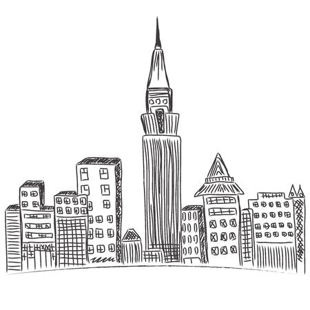 new york skyline: New York City, downtown, city skyline, sketch