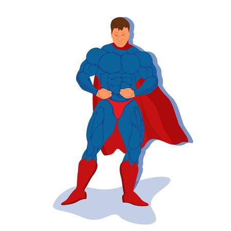 muscly: superhero, vector illustration