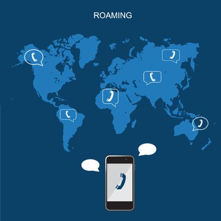 Mobile phone international roaming, flat vector illustration