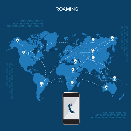 roaming: Mobile phone international roaming, flat vector illustration