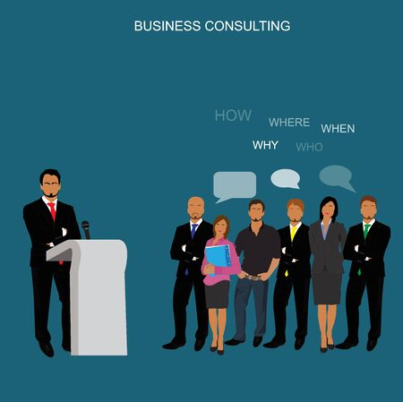 adviser: business consulting concept, vector illustration, flat Illustration