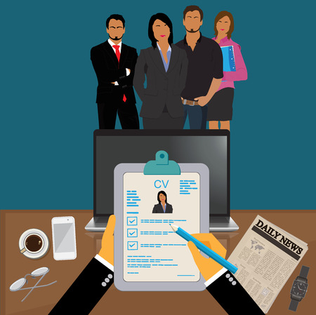 Hands holding CV profile to choose from group of business people to hire, interview, hr, Vector Illustration Vettoriali