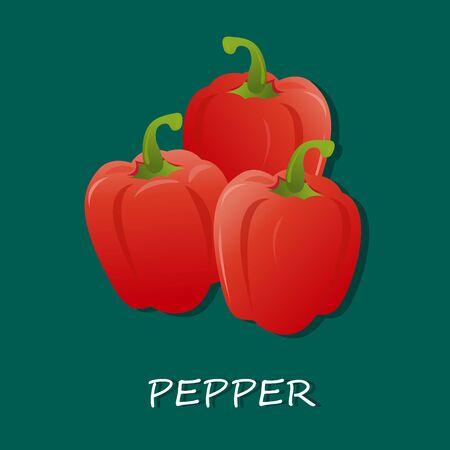 verse rode pepers, vector illustratie, geïsoleerd op een witte achtergrond Stock Illustratie