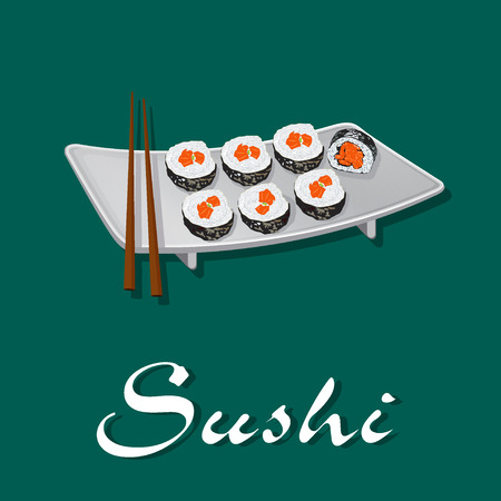 korea food: suchi, vector Illustration