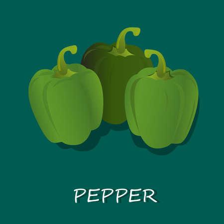 verse groene pepers, vector illustratie, geïsoleerd op een witte achtergrond