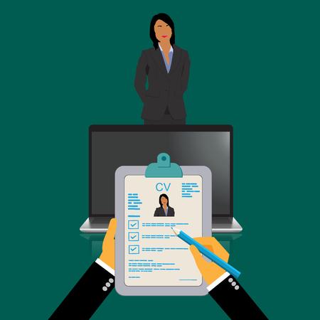 Curriculum vitae recruitment candidate job position, vector illustration