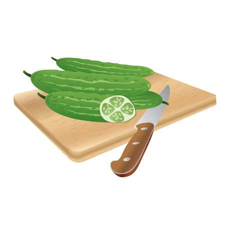 green cucumber vegetable Ilustração