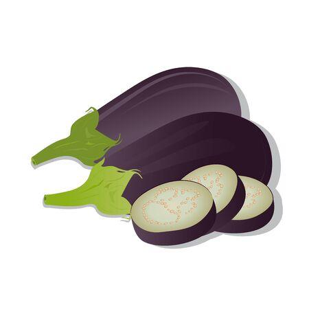 Vector illustratie van de aubergine op een witte achtergrond