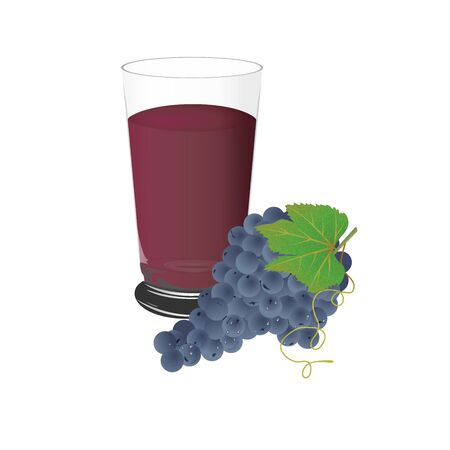 concord grape: Grape juice and grapes, cup, vector, illustration, isolated on white background Illustration