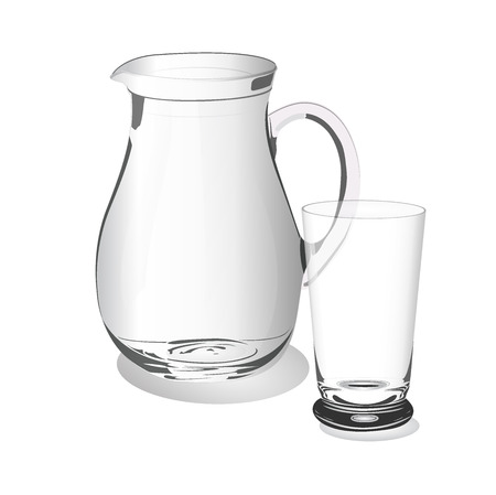 glass cup and jug, vector, illustration, isolated on white background