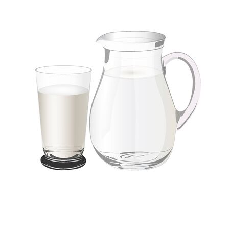 pitcher: pitcher with milk, vector illustration