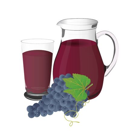 concord grape: grape juice and grapes, jug and glass cup, vector, illustration Illustration