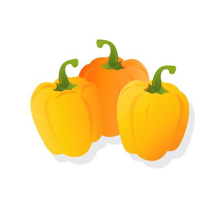 verse gele paprika's, vector illustratie, geïsoleerd op een witte achtergrond