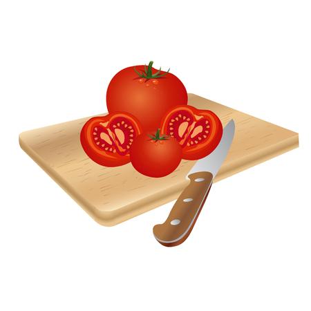 Vector illustrations of fresh tomatoes, isolated on white background Illustration