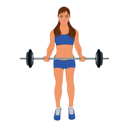 fitness woman exercising with barbell, vector illustration Çizim