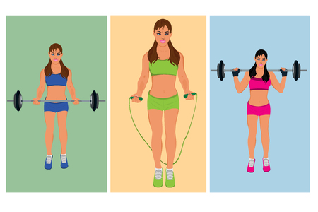exercising fitness woman, vector illustration Illustration