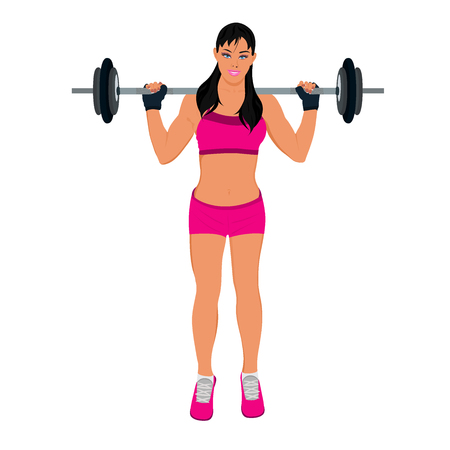 fitness woman doing squats with weight, vector illustration