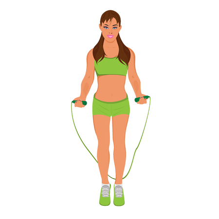 jump rope: fitness woman with a jump rope, vector illustration